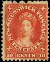 New Brunswick #9 mint F OG HHR 1860 Cents Issue 10c vermilion Queen Victoria