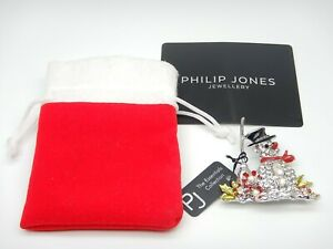 Philip Jones Snowman Brooch Sparkly Christmas Jewellery Excellent Condition