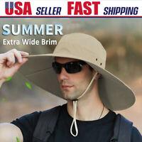 Summer Unisex Wide Brim Bucket Boonie Hat UV Sun Protection Hiking Fishing Cap
