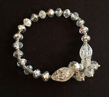 1 Avon Sparkling Beaded Stretch Bracelet NIB Clear