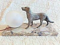 Ancienne grande lampe de chevet chien labrador art-déco-veilleuse boule blanche