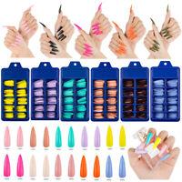 100x/set Long Stiletto Nail Tips Full Cover False Fake Acrylic Nail Art Manicure