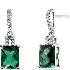 14K White Gold Created Emerald Earrings Radiant Checkerboard Cut 3.75 ct