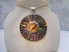 HUGE LARGE SUNBURST Black Amber Fire Opal PENDANT Solid Medallion Sterling
