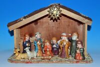 Home for the Holidays Nativity Set of 10 Porcelain Figures with Wood Creche 2003