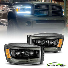 Fit 2006-2008 Dodge Ram  LED DRL/Signal Polished Black Projector Headlights Pair