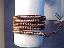 AUTHENTIC CHAN LUU STERLING SILVER & GOLD Nuggets LEATHER 5X Wrap Bracelet CL16B