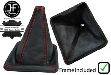 RED STITCH LEATHER GEAR BOOT WITH PLASTIC FRAME FOR VW GOLF MK1 RABBIT JETTA