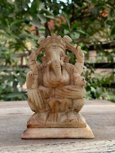 Rare Vintage Stone Marble Hand Carved Hindu God Ganesha Statue Figure