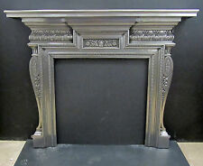 FULLY POLISHED ORIGINAL VICTORIAN CAST IRON SURROUND FIREPLACE