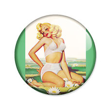 Badge PIN UP BLONDE retro pinup sexy glamour vintage 50's pop button pins Ø25mm