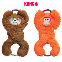 KONG Tuggz Tug Dog Toy Rope Tugger Orange Monkey Brown Sloth Play Squeak