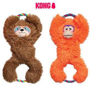 KONG Tuggz Tug Dog Toy Rope Tugger Orange Monkey Brown Sloth Play Squeak
