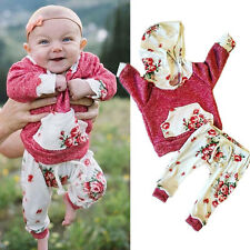 6-12M USA Toddler Baby Girls Hooded Coat Hoodies+Pants 2PCS Outfits Clothes Sets