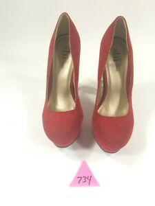 Shi By Journeys Womens Red Suede Platform Heels size 7