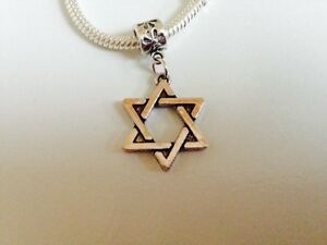 STAR of DAVID Sterling Silver Plated Dangling Charm For European Charm Bracelets