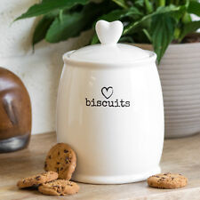 Rustic White Heart Ceramic Biscuit Tin Cookie Barrel Food Storage Jar Canister