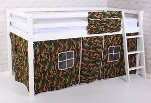"""Shorty Cabin Bed 2FT 6"""" Mid Sleeper loft Bunk Tent Boys Camo New White Frame"""
