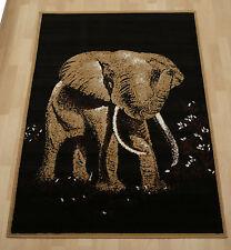 Cheap budget safari elephant african animal pet medium small black rug 120x170cm
