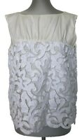DRIES VAN NOTEN CREAM/WHITE CROCHET TOP, 38, $795