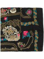 Etro Black Embroidered Paisley Silk Shawl Scarf 140 X 140 $1600