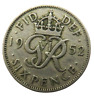 1952 King George VI Sixpence Coin - Great Britain - Scarce Date
