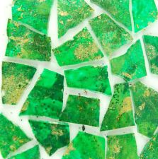 100 pieces of Green with Metallic Gold Mosaic Art Glass Tiles by Makena Tile