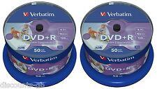 Verbatim 43512 DVD+R: 16X FULL WIDE PRINTABLE 50 + 50 = 100 dischi Pack Spindle