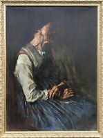 Max Eichler Munich - Portrait of Sitting Woman - um 1900 Oil Painting