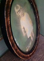 Antique Vintage Wood Oval Little Girl Marked Bubble Convex Glass Frame *RARE*