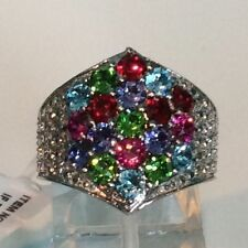 Blue, Purple, Green, Pink & Red Made with SWAROVSKI Stainless Steel Ring Size 5