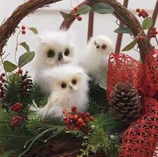 2 Fuzzy Wuzzy White Woodland Snow Owls Christmas Marabou Feather Tree Ornaments