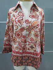 Travel Smith Floral Print 3/4 Sleeve V-Neck Cotton Tunic Size M