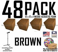 48 pack BROWN Acoustic Wedge Studio Soundproofing Foam Wall Tiles 12x12x1