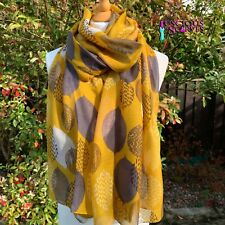 MUSTARD SCARF WITH BROWN & OFF WHITE LEAFY LEAVES DESIGN SUPERB QUALITY