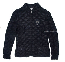 CHANEL  09A NEW $4.5K  CAMELLIA LOGO  EMBROIDERED  BLACK QUILTED JACKET FR44
