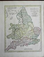 Dioceses of Church of England Canterbury York 1801 Wilkinson historical map