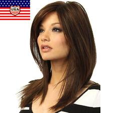 Women Dark Brown Long Straight Partial Bangs Full Wig Heat Resistant Hair USA