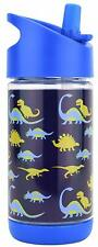 Kids Water Bottle w. Straw, Cool Dinosaur Design Boys, Spill Proof, Eco-Friendly