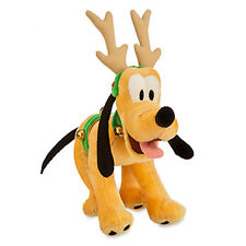 "disney parks holiday christmas pluto reindeer small 7"" plush new with tags"