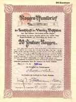 ROGGENPFANDBRIEF Landschaft  Prov. Westfalen Münster Bank hist Anleihe 1923 LWL