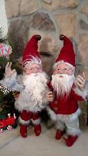 "Set 2 NWT 20"" Santas Elves ELF Christmas Display Prop Figure Doll Red Gray Suits"