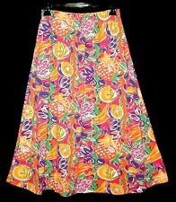 Sz S Mid-Calf Flair Skirt PS Sport TROPICAL FRUIT Poly/Cotton Orange Multi