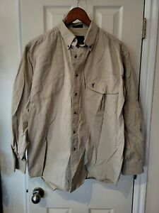 Browning Super Naturals Shirt L Men Beige Khaki Hunting Shooting Long Sleeves