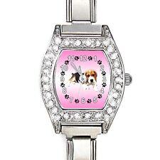 Beagle Dog CZ Ladies Stainless Steel Italian Charms Bracelet Wrist Watch BJ1160