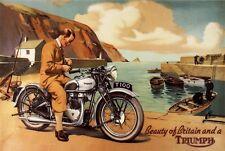 Vintage années 1950 triumph T100 motos moto publicité affiche A3 re imprimer