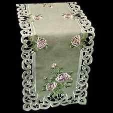 """Embroidered Pink Rose on Gray Linen Polyester Table/Dresser Scarf 16"""" x 45"""""""