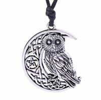 'The Intuitor' Crescent Moon Pendant Owl Wicca Pentacle Pentagram Necklace