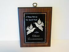 """CRYSTAL GLO WOODEN """"SILVER ANNIVERSARY"""" WALL PLAQUE"""