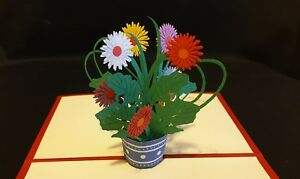 3D Pop Up Colourful Pot of Flowers Card.(Mother's day, Birthday, Thank  you, all